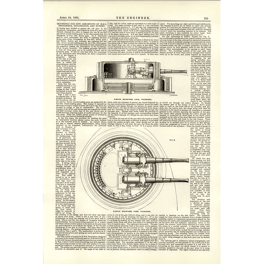 1891 Elswick Mountings Hms Thunderer Top And Side View