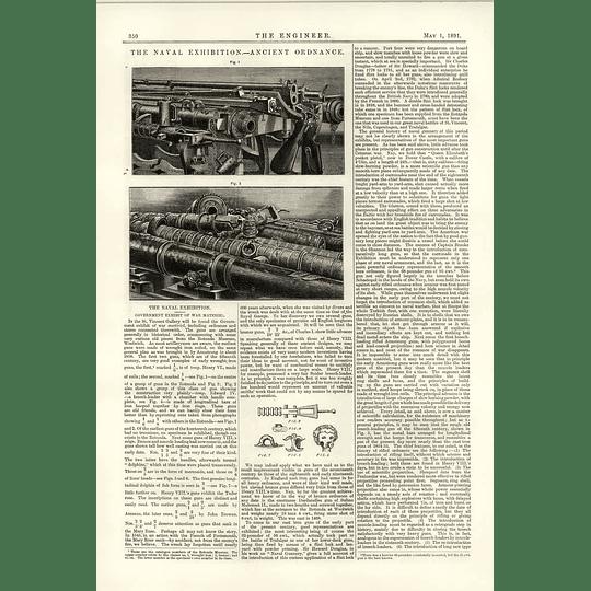 1891 Ancient Ordnance Historical Display Exhibit War Material