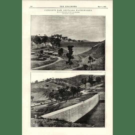 1891 Concrete Dam Beetaloo Water Works A B Moncrieff