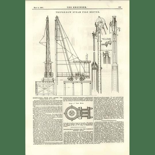 1891 Triple Row Steam Piledriver Mclaine's Hollow Piston Valve