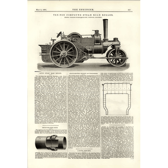 1891 10 Ton Compound Steam Road Roller Novel Firebox
