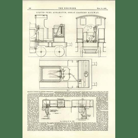 1891 Liquid Fuel Apparatus Great Eastern Railway Holden System Burning Petroleum