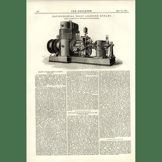 1891 Equipotential Train Lighting Dynamo Holmes Newcastle Upon Tyne