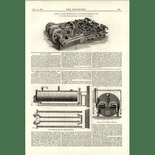 1891 Linde Dry Air Duplex Refrigerator Ackroyd Willoughby Smoke Preventer
