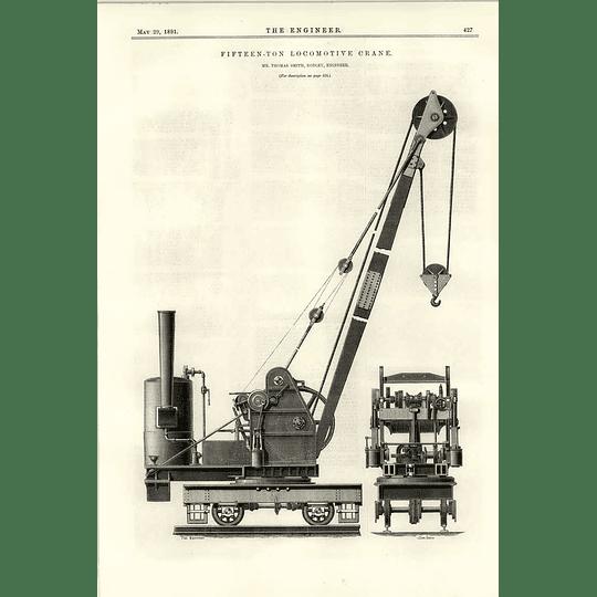 1891 15 Ton Locomotive Crane Thomas Smith Rodley Engineer