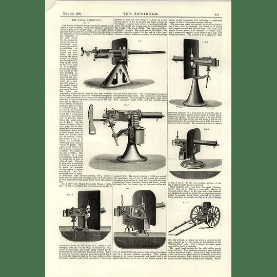 1891 Maxim Nordenfelt Company Unique Automatic Action Guns