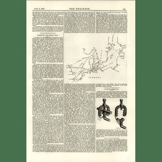 1891 Kiel Canal Harbours Waterways Novel Lathe Dog