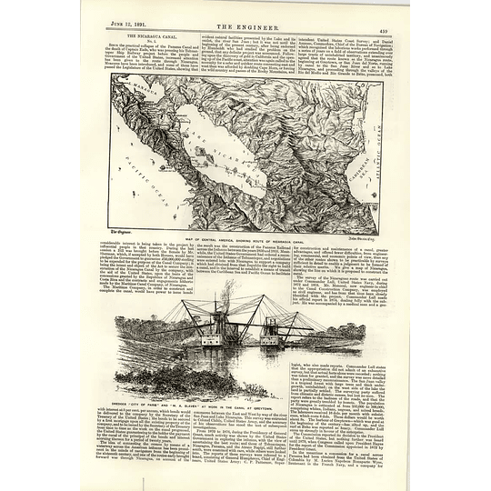 1891 The Nicaragua Canal Dredgers Of Work Greytown View Of Harbour Pier