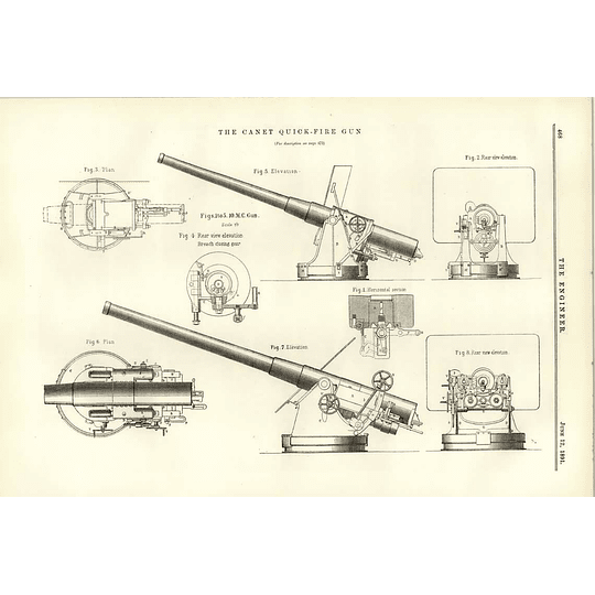 1891 The Canet Quickfire Gun Various Elevations