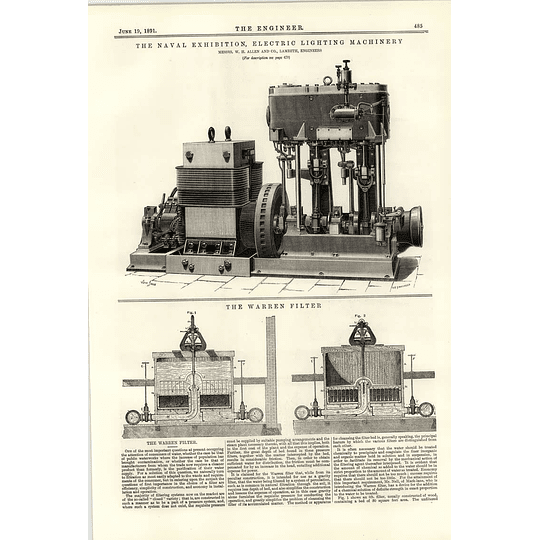 1891 Electric Lighting Machinery Wh Allen Lambeth Warren Filter Water Works