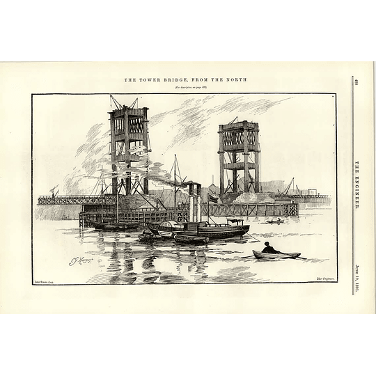 1891 London's Tower Bridge Under Construction View From The North Sketch