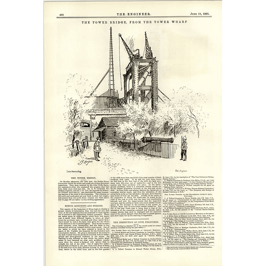 1891 Tower Bridge Under Construction Viewed From The Tower Wharf