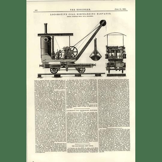 1891 Locomotive Coal Discharging Elevator Priestman Hull