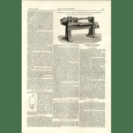 1891 Double Axle Box Brass Boring Machine Spencer Manchester