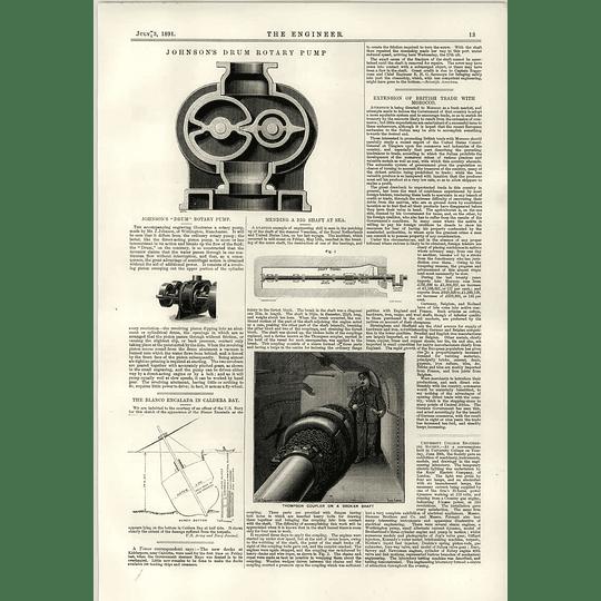 1891 Johnson's Drum Rotary Pump Thomson Coupler Broken Shaft Blanco Encalada