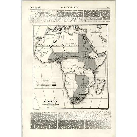 1891 Proposed Railway Through British Central Africa Spheres Of Influence