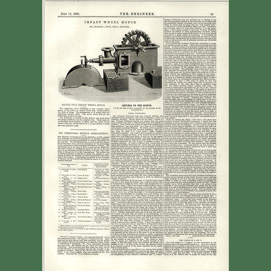 1891 Pelton Type Impact Wheel Motor Hett Brigg