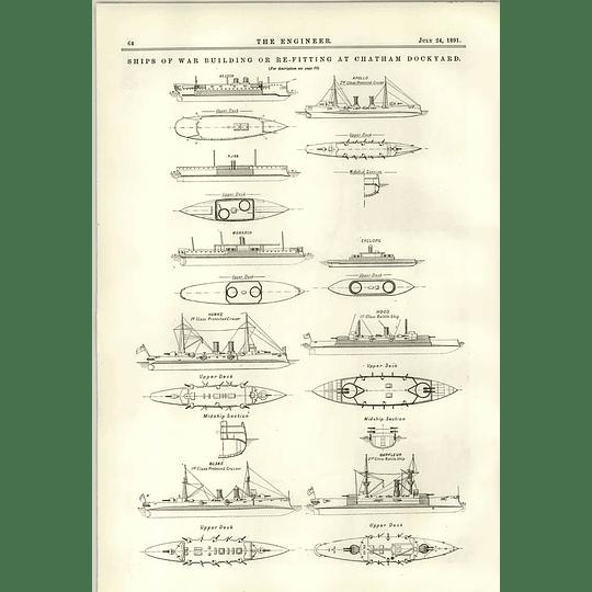 1891 General Plan Chatham Dockyard Ships Of War Refitting