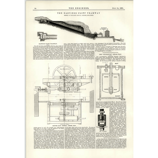 1891 Hastings Cliff Tramway R Waygood Hydropult Steam Trap Bombay Water Supply