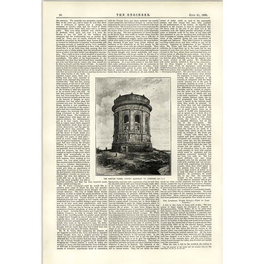 1891 The Norton Tower Vyrnwy Aqueduct To Liverpool