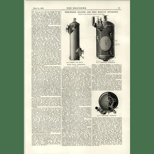 1891 Feed Water Heaters Kirkaldy Distilling Apparatus Condenser