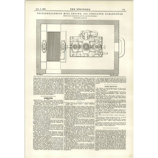 1891 Mill Engine Thousand Horsepower Hick Hargreaves Plan