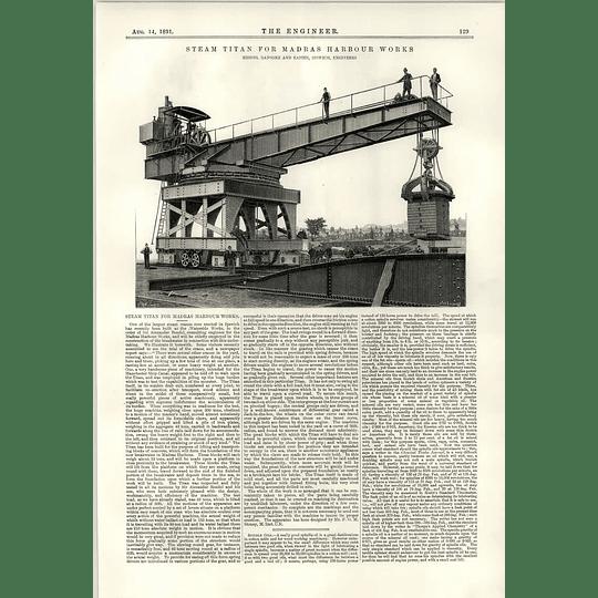 1891 Steam Titan For Madras Harbour Works Ransom Rapier Ipswich