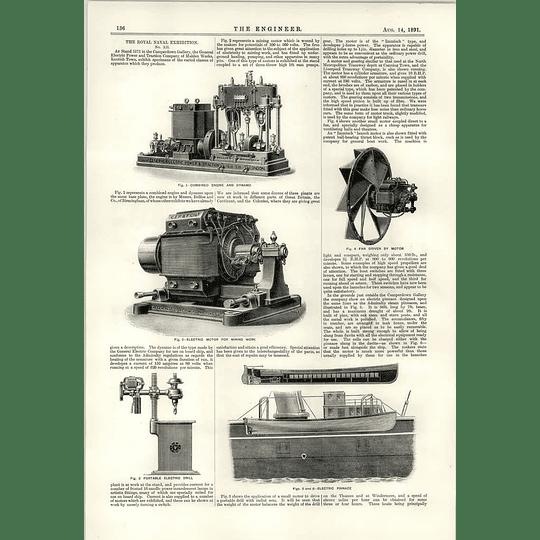 1891 Malden Works Kentish Town Combine The Engine Dynamo Electric Pinnace