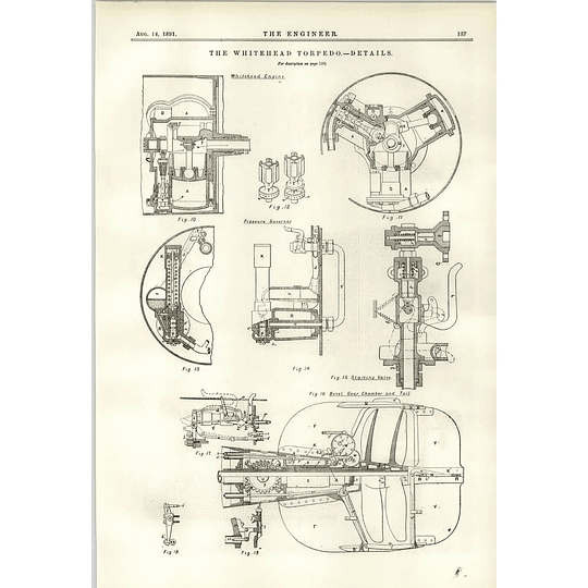 1891 The Whitehead Torpedo Engine Details Gear Chamber