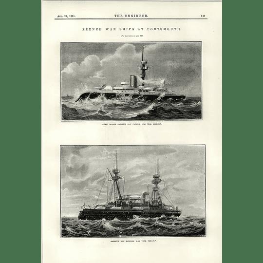 1891 French Warships Marceau Furieux