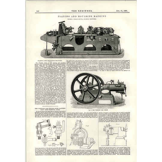 1891 Cleaning And Moulding Machine Sagar Forward Gas Engine Lanchester