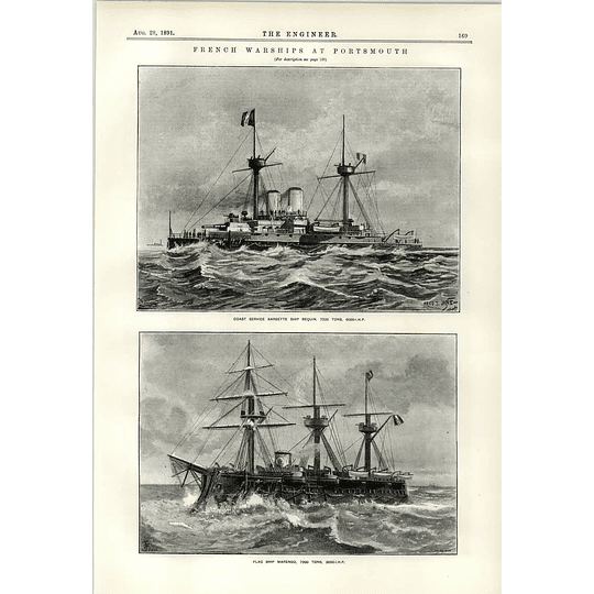 1891 French Warships Requin Flagship Marengo
