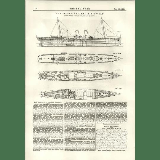 1891 Twin Screw Steamship Tynwald Deck Diagrams Plans