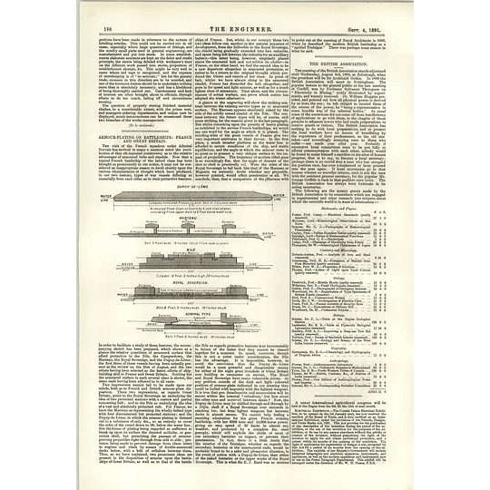 1891 Armour Plating On Battleships In France And Great Britain