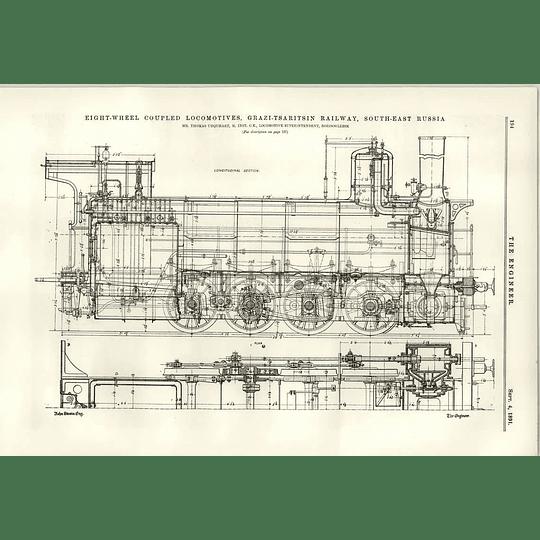 1891 Grazi Tsaritsin Railway South-east Russia Locomotives