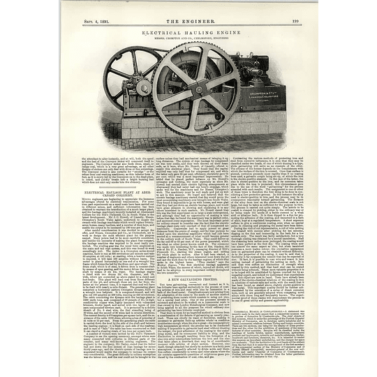1891 Electrical Hauling Engine Compton Chelmsford Walker Liverpool Experimental Engine