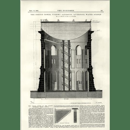 1891 Norton Tower Vyrnwy Aqueduct Liverpool Watersupply