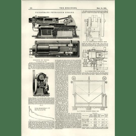1891 Priestman Petroleum Engine Hornsby Ackroyd Thwaites Storage Tank