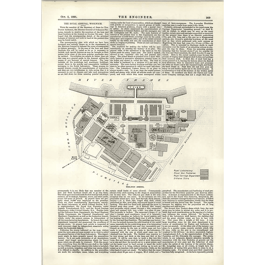 1891 Royal Arsenal Woolwich Plans Map
