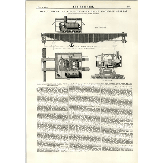 1891 Woolwich Arsenal 150 Ton Steam Travelling Crane Easton Anderson