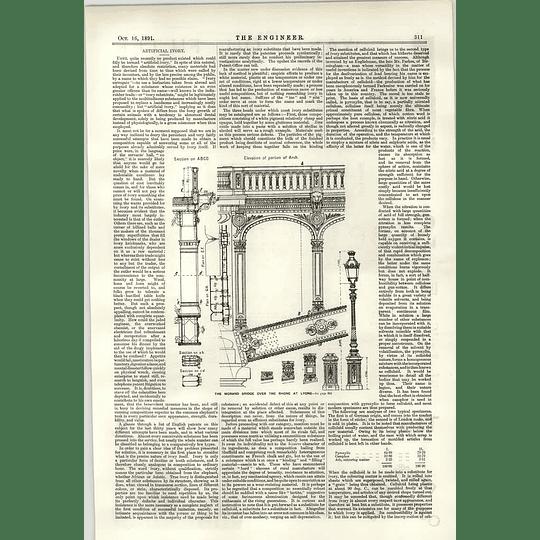 1891 Artificial Ivory Morand Bridge Rhone Lyons