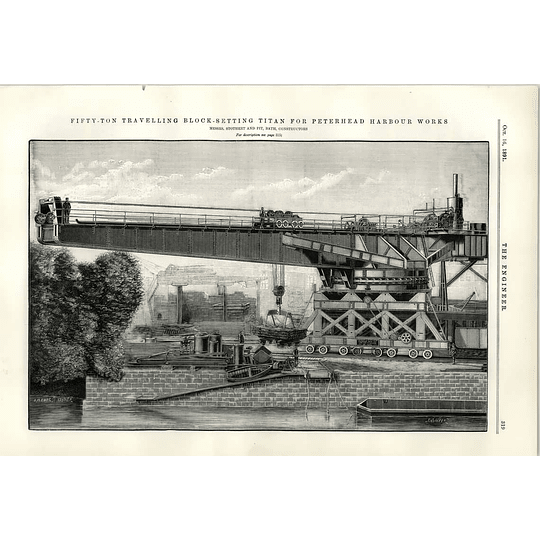 1891 Peterhead Harbour Works Block Setting Titan Stothert Pit Bath