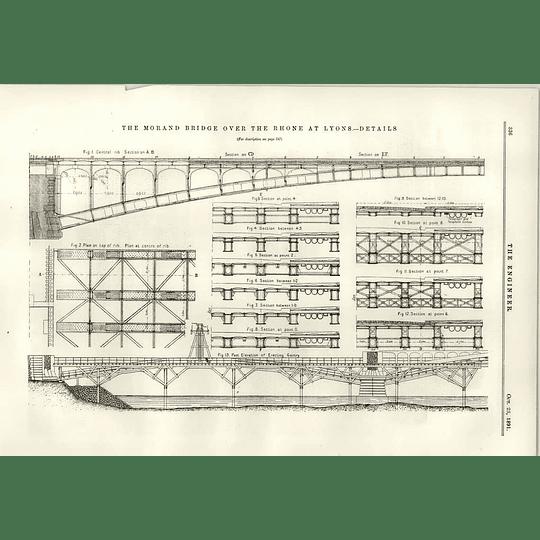1891 Morand Bridge Rhone Lyons Details Rids Sections