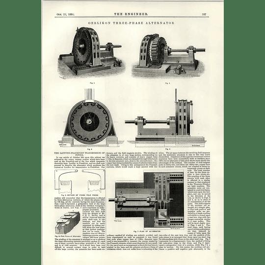 1891 Oerlikon Three-phase Alternator Lauffen Frankfurt Tube Making Machinery