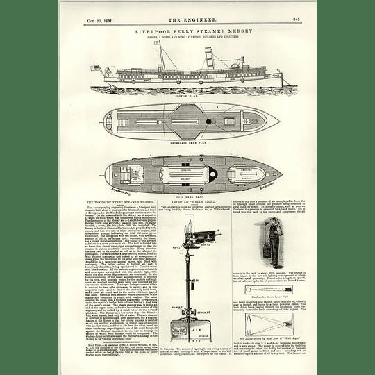 1891 Liverpool Woodside Ferry Steamer Mersey Jones