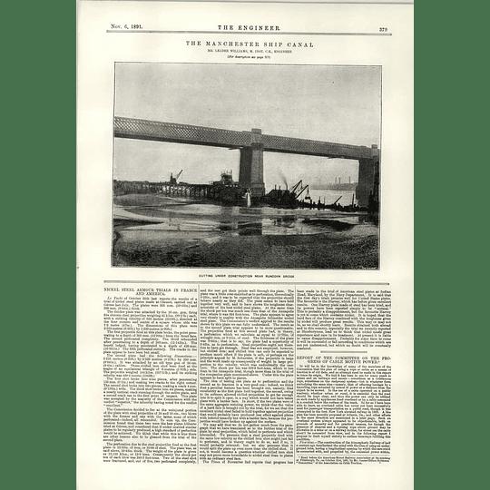 1891 Cutting Under Construction Near Runcorn Bridge Ship Canal