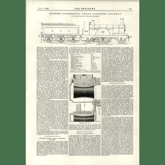 1891 Express Locomotive Great Northern Railway Patrick Stirling Doncaster