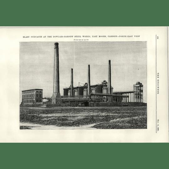 1891 Blast Furnaces Dowlais Cardiff Steelworks East Moors