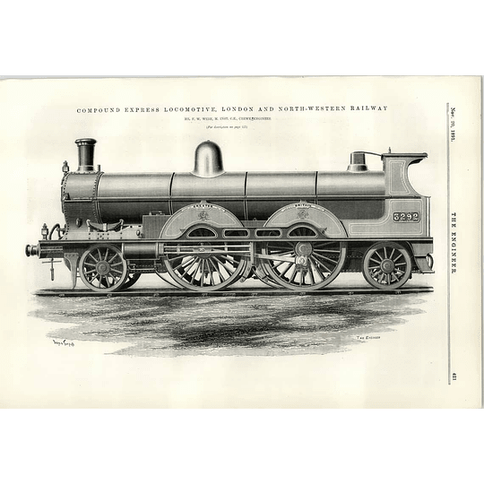 1891 Compound Express Engine London And North West Railway Webb Crewe