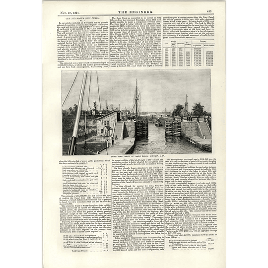 1891 Large Lock Sault St Marie Canal Michigan